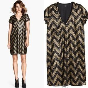 H&M Black and Gold Sequins Shift Dress.
